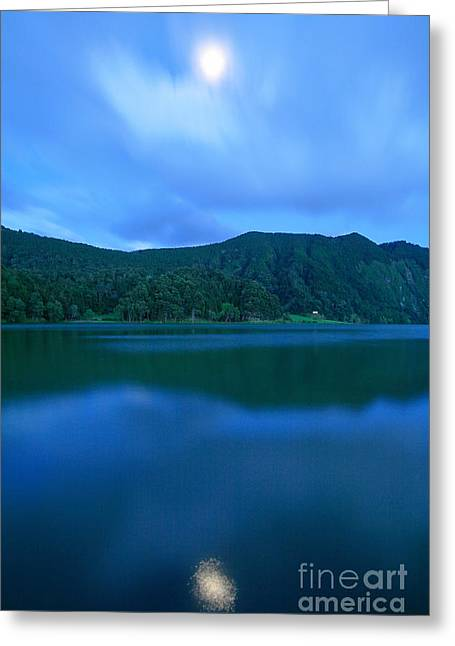 Crater Lake Twilight Greeting Cards - Moon reflection Greeting Card by Gaspar Avila