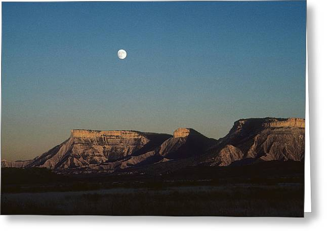 Color_image Greeting Cards - Moon Rise over Mesa Verde Greeting Card by John Brink
