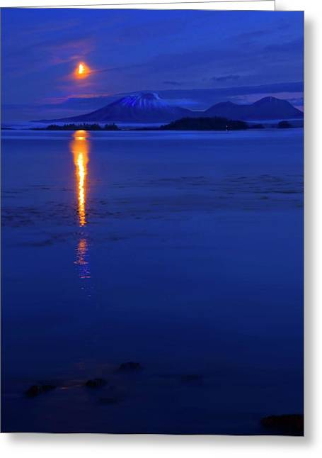 Mt Photographs Greeting Cards - Moon Rise over Mt. Edgecumbe Greeting Card by Mike  Dawson