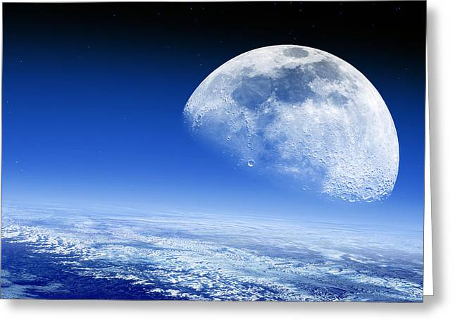 Sea Of Tranquility Greeting Cards - Moon Rising Over Earths Horizon Greeting Card by Detlev Van Ravenswaay