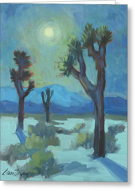 Blue And Green Greeting Cards - Moon Shadows at Joshua Greeting Card by Diane McClary