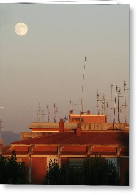 Basilio Greeting Cards - Moon sight at sunset Greeting Card by Luca Rosa
