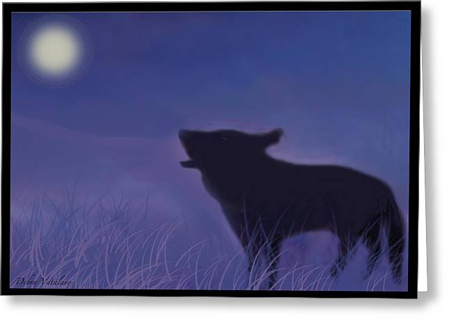 Beauty Of Wolves Greeting Cards - Moon Song Greeting Card by Debra     Vatalaro