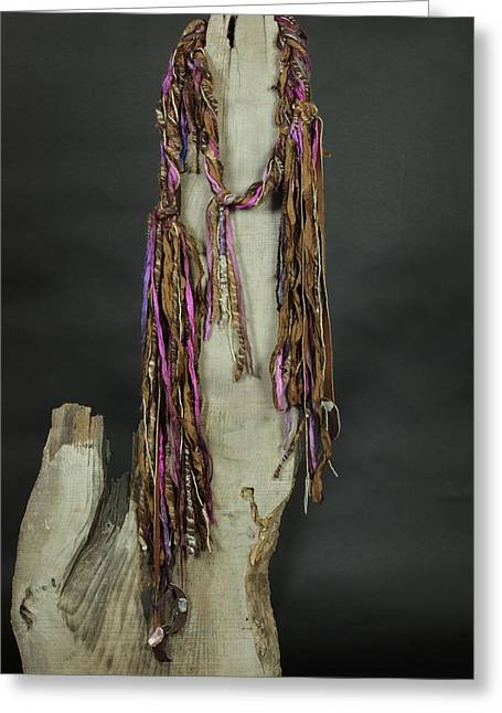 Hand Tapestries - Textiles Greeting Cards - Moon Stone - Hand Spun Art Scarf Greeting Card by Karen Rester
