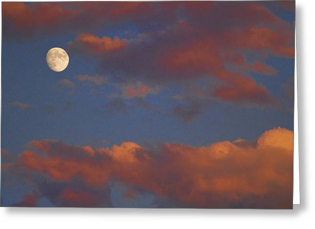 Office Space Photographs Greeting Cards - Moon Sunset Greeting Card by James BO  Insogna