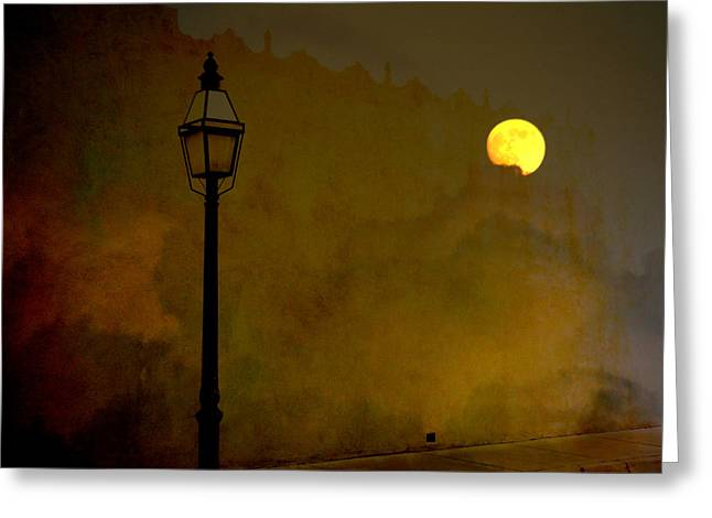 Street Lantern Greeting Cards - Moon Walker Greeting Card by Susanne Van Hulst