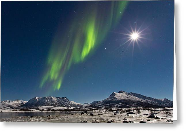 Sortland Greeting Cards - Moon with Auroras Greeting Card by Frank Olsen