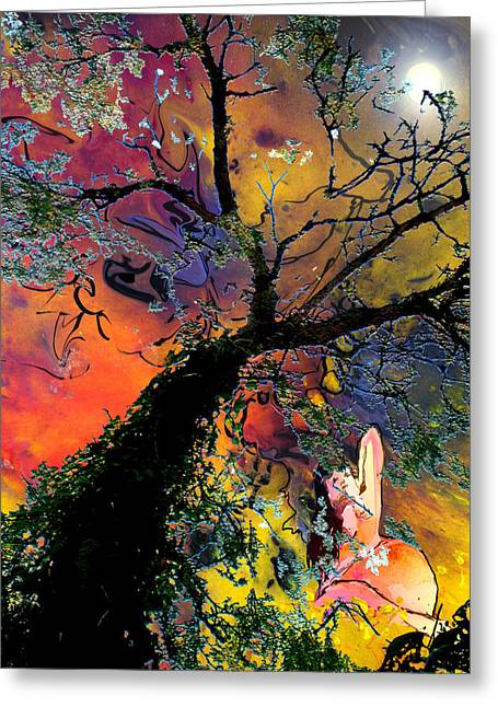 Mystic Art Greeting Cards - Moonbathing Greeting Card by Miki De Goodaboom