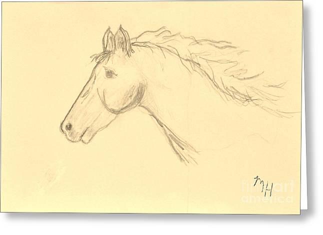 Head Wrap Greeting Cards - Moonbeam Sketch Greeting Card by Marsha Heiken