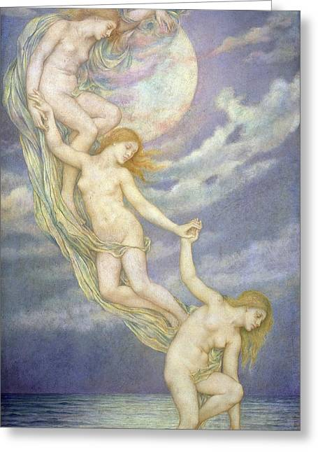 Evelyn De Greeting Cards - Moonbeams Dipping into the Sea Greeting Card by Evelyn De Morgan