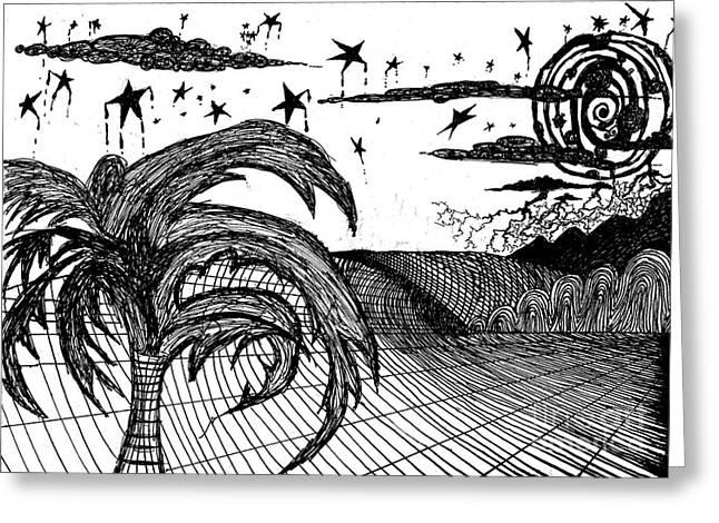 Surf Art Drawings Greeting Cards - Moondance Greeting Card by Wesley Singh