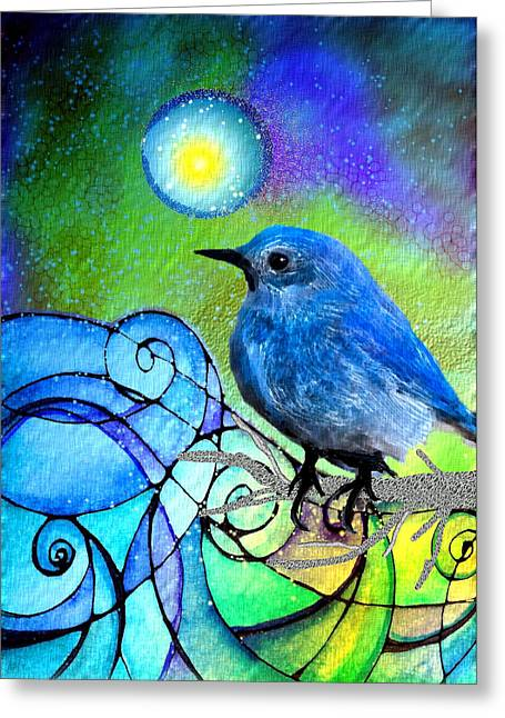 Digital Collage Greeting Cards - Moonglow Greeting Card by Robin Mead