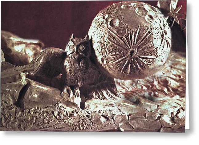 Rock Sculptures Greeting Cards - Moonhorse Detail Owl and Moon Greeting Card by Dawn Senior-Trask
