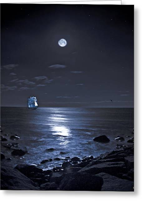 Tall Ships Greeting Cards - Moonlight Bay Greeting Card by Chris Lord