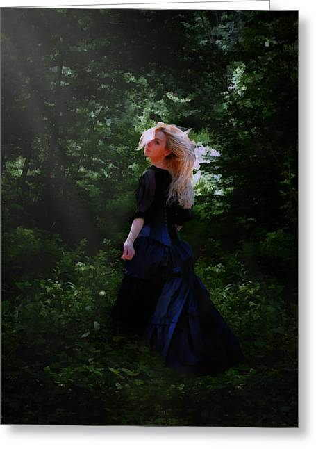 Goth Girl Digital Art Greeting Cards - Moonlight Calls Me Greeting Card by Nikki Marie Smith