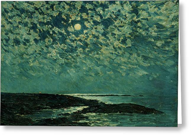 Moonshine Greeting Cards - Moonlight Greeting Card by Childe Hassam
