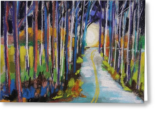 Shines Pastels Greeting Cards - Moonlight Glimpse Greeting Card by John  Williams