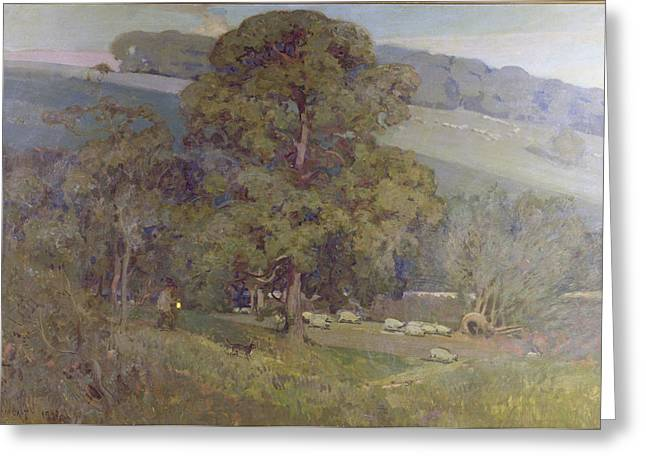Shepherds Greeting Cards - Moonlight in the Cotswolds Greeting Card by Sir Alfred East