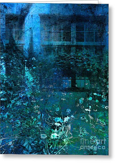 Manipulated Photography Greeting Cards - Moonlight in the Garden Greeting Card by Ann Powell