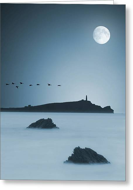 Seaside Digital Art Greeting Cards - Moonlight Greeting Card by Jaroslaw Grudzinski