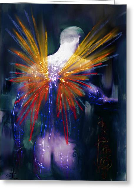 Angel Blues Greeting Cards - Moonlight Kisses Raphael Greeting Card by Stephen Lucas