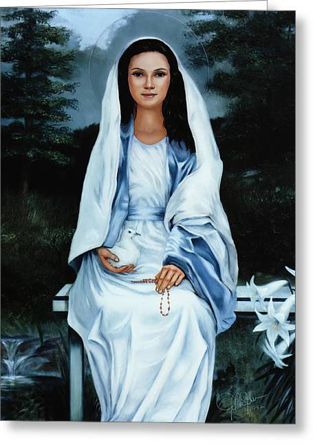 Virgin Mary Greeting Cards - Moonlight Madonna Greeting Card by Gregory Clarke-Johnsen