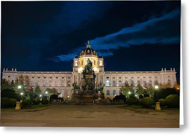 Wien Greeting Cards - Moonlight Museum Greeting Card by David Waldo