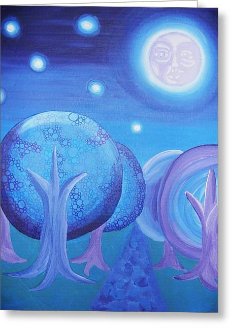 Man In The Moon Paintings Greeting Cards - Moonlight Greeting Card by Nichole Williamson