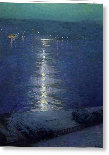 1854 Greeting Cards - Moonlight on the River Greeting Card by Lowell Birge Harrison