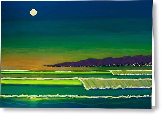 City Lights Greeting Cards - Moonlight Over Venice Beach Greeting Card by Frank Strasser