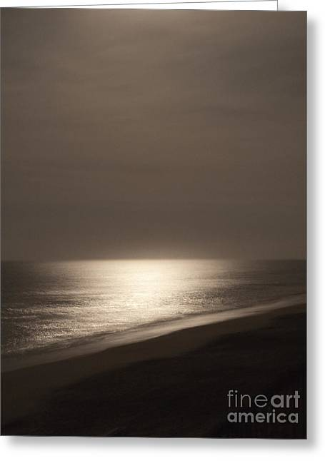 Beach At Night Greeting Cards - Moonlight Reflecting Off Of Water Greeting Card by Roberto Westbrook