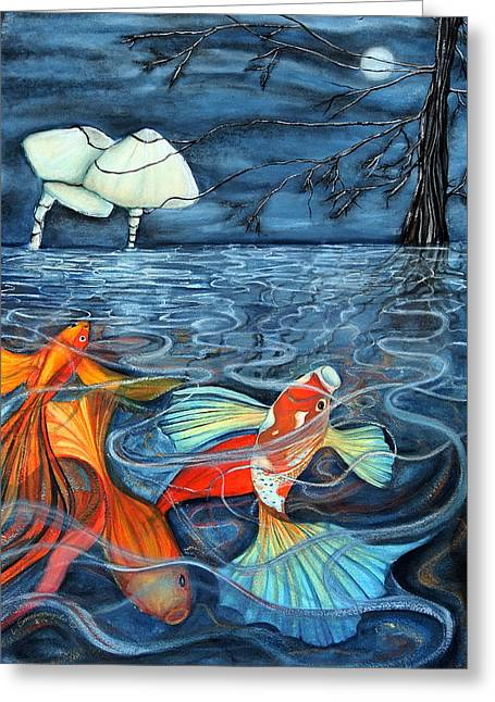 Goldfish Paintings Greeting Cards - Moonlight Rendezvous Greeting Card by Lesley Smitheringale