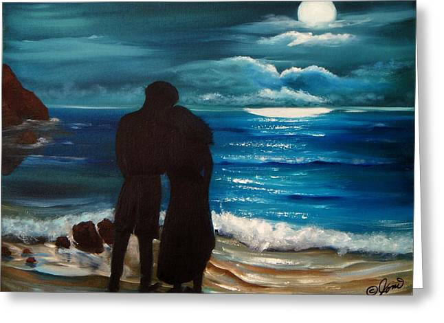 Recently Sold -  - Moon Beach Greeting Cards - Moonlight Romance Greeting Card by Joni McPherson