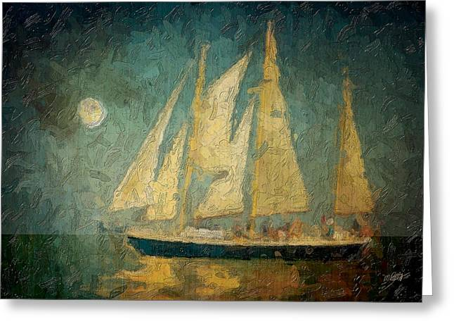 Moon Beach Mixed Media Greeting Cards - Moonlight Sail Greeting Card by Michael Petrizzo