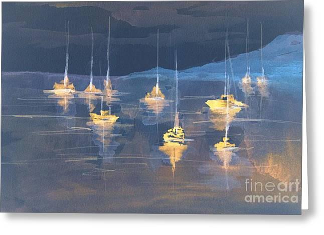 Nightlights Greeting Cards - Moonlight Sailing Greeting Card by Julie Lueders
