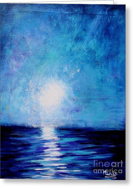 Moon Beach Mixed Media Greeting Cards - Moonlight Sea Greeting Card by Mike Grubb