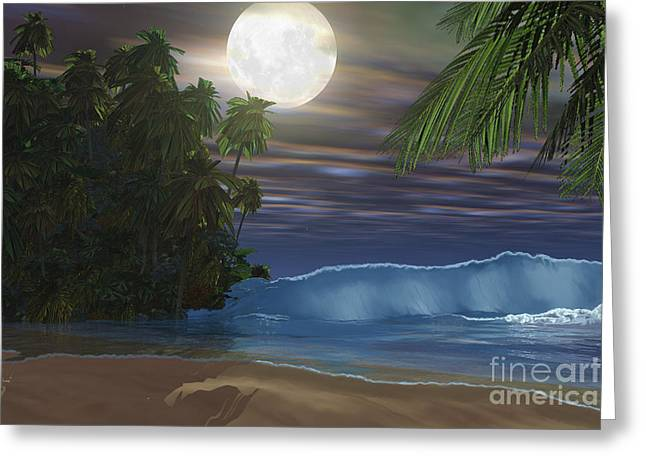 Moon Beach Digital Art Greeting Cards - Moonlight Shines Down On The Beach Greeting Card by Corey Ford