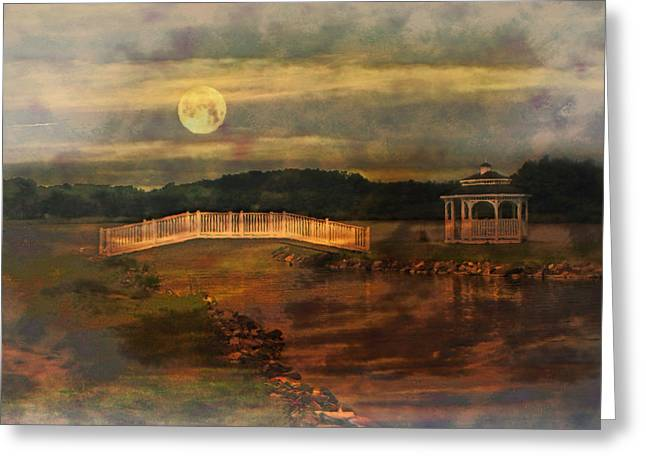 Willow Lake Greeting Cards - Moonlight Stroll Greeting Card by Kathy Jennings