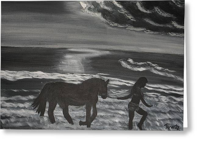 Surf Silhouette Paintings Greeting Cards - Moonlight Surf Greeting Card by Tammy Rekito