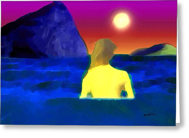 Imagination Mixed Media Greeting Cards - Moonlight Swim Greeting Card by Anthony Caruso