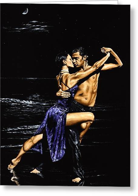 Tango Greeting Cards - Moonlight Tango Greeting Card by Richard Young