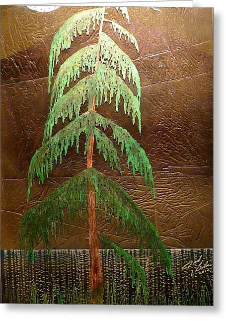 Ocean Landscape Glass Art Greeting Cards - Moonlit Cedar  Greeting Card by Rick Silas