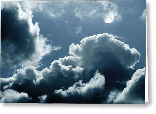 Moonlit Night Greeting Cards - Moonlit Clouds Greeting Card by Detlev Van Ravenswaay