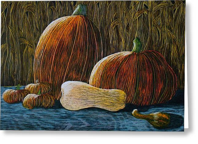 Moonlit Night Drawings Greeting Cards - Moonlit Harvest Greeting Card by Annette Egan