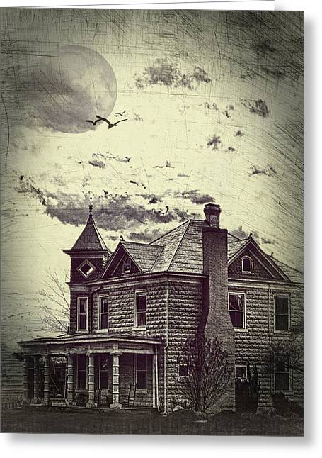 Old House Photographs Photographs Greeting Cards - Moonlit Night Greeting Card by Kathy Jennings