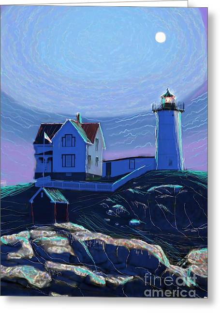 Nubble Lighthouse Paintings Greeting Cards - Moonlit Nubble Greeting Card by Earl Jackson