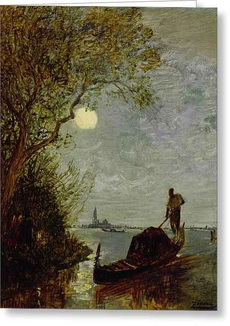 Moonlight Scene Paintings Greeting Cards - Moonlit Scene with Gondola Greeting Card by Felix Ziem