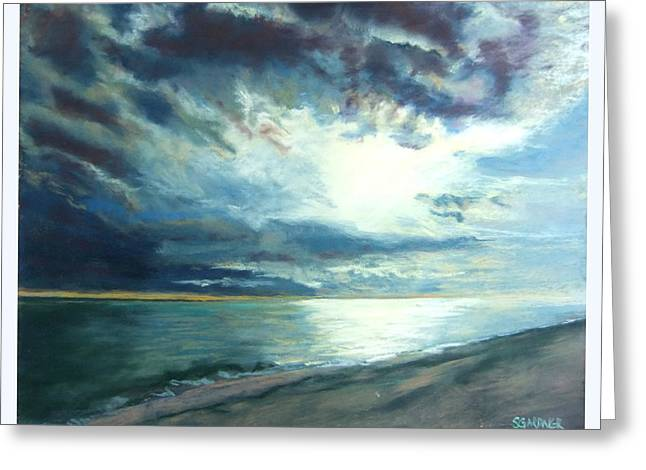 Moonlit Sea Greeting Card by Sue Gardner