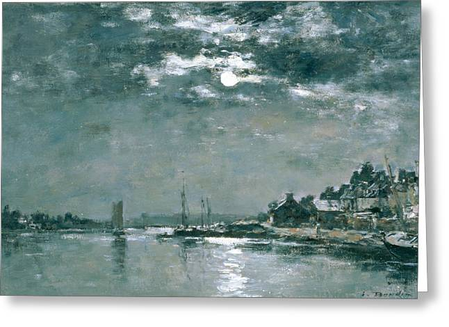 Moonlight Scene Paintings Greeting Cards - Moonlit Seascape Greeting Card by Eugene Louis Boudin