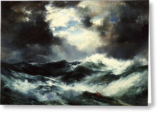 Masterpiece Paintings Greeting Cards - Moonlit Shipwreck at Sea Greeting Card by Thomas Moran